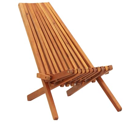 vidaXL Folding Outdoor Lounge Chair Solid Acacia Wood