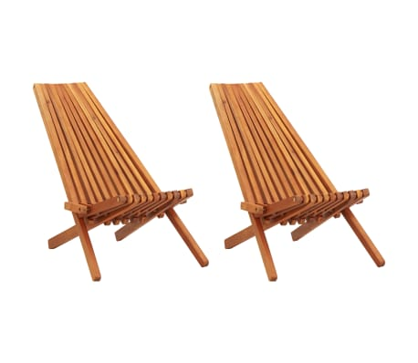 vidaXL Folding Outdoor Lounge Chairs 2 pcs Solid Acacia Wood