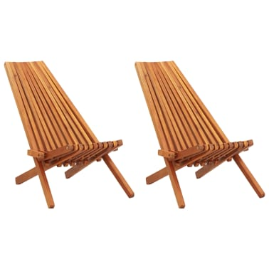 vidaXL Folding Outdoor Lounge Chairs 2 pcs Solid Acacia Wood[1/9]