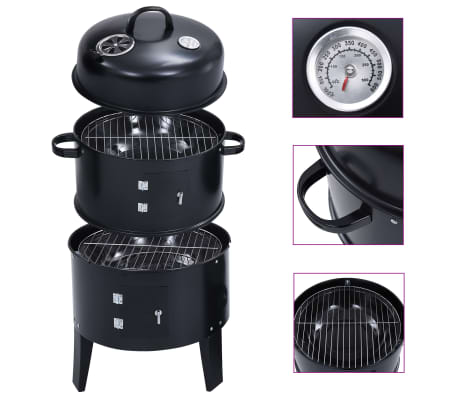 "vidaXL 3-in-1 Charcoal Smoker BBQ Grill 15.7""x31.4"""