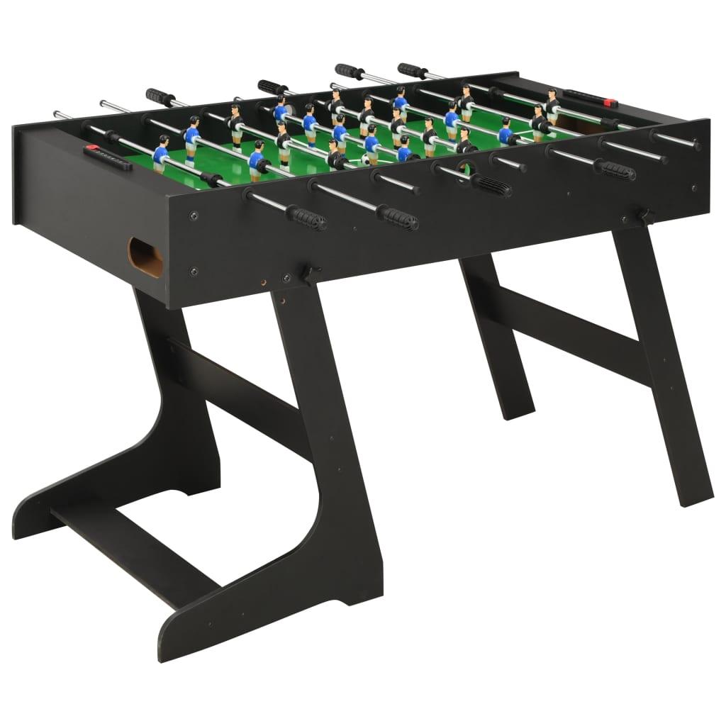 vidaXL Masă de fotbal pliantă, negru, 121 x 61 x 80 cm poza 2021 vidaXL