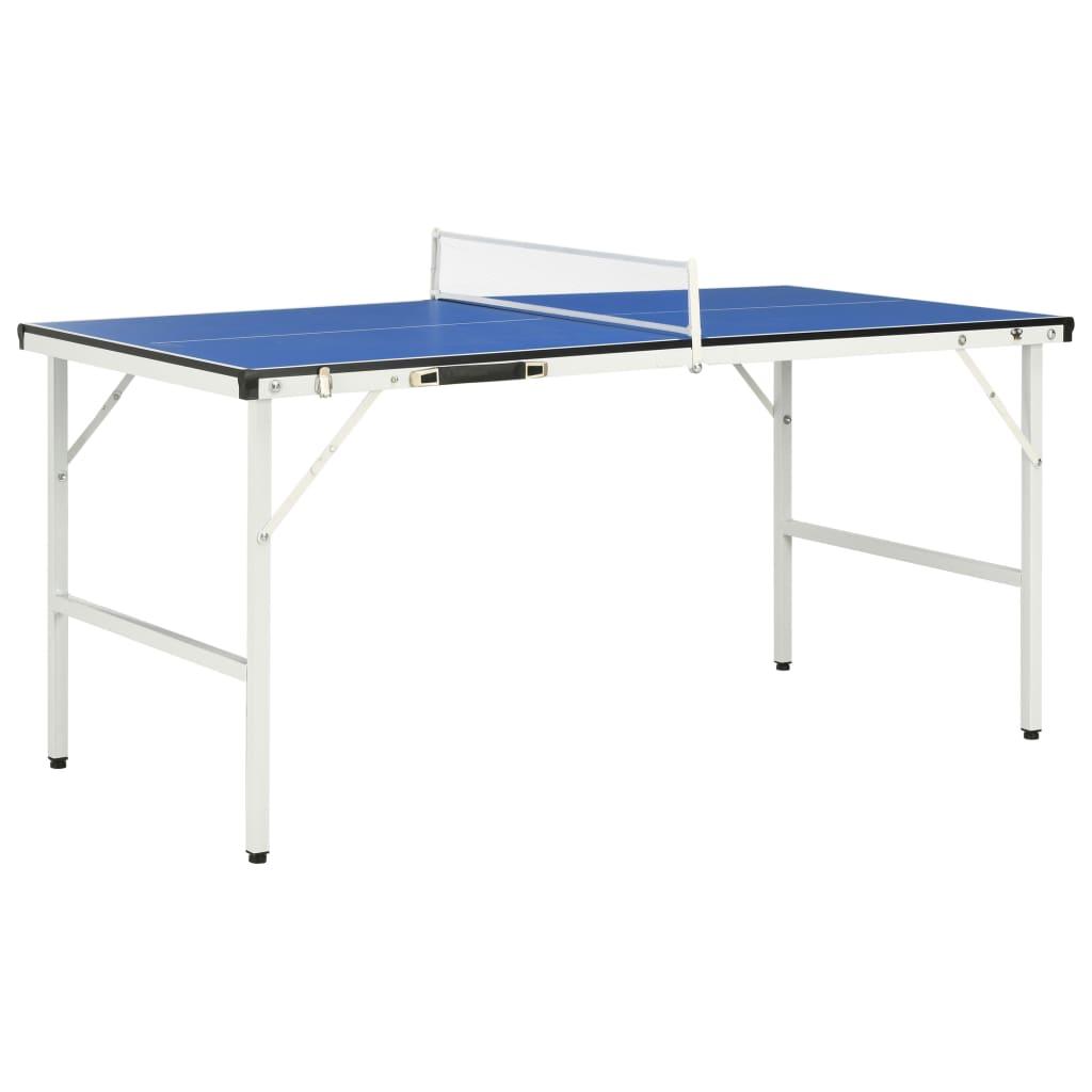 vidaXL Stůl na stolní tenis se síťkou 152 x 76 x 66 cm modrý