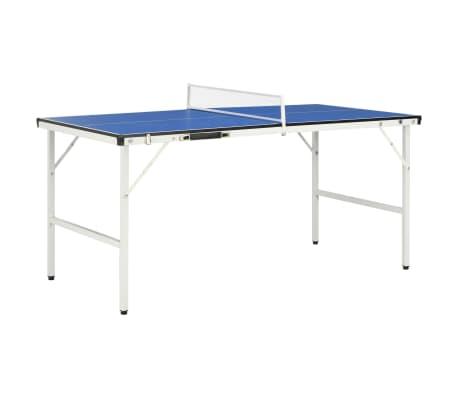 vidaXL 5 pēdu galda tenisa galds ar tīklu, 152x76x66 cm, zils