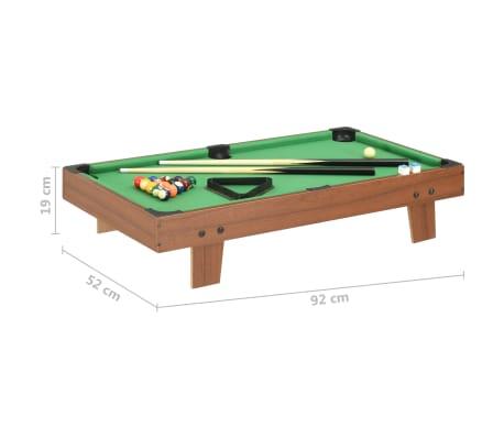 vidaXL Mini biliardo stalas, 92x52x19cm, rudas ir žalias, 3 pėdų ilgio[8/8]