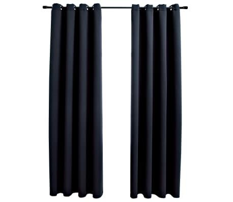 vidaXL Verdunkelungsvorhänge mit Metallösen 2 Stk. Schwarz 140x175 cm