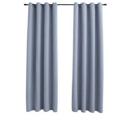 vidaXL Blackout Curtains with Metal Rings 2 pcs Grey 140x175 cm