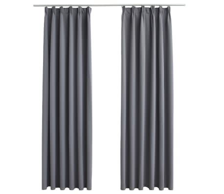 vidaXL Gordijnen verduisterend met haken 2 st 140x225 cm grijs