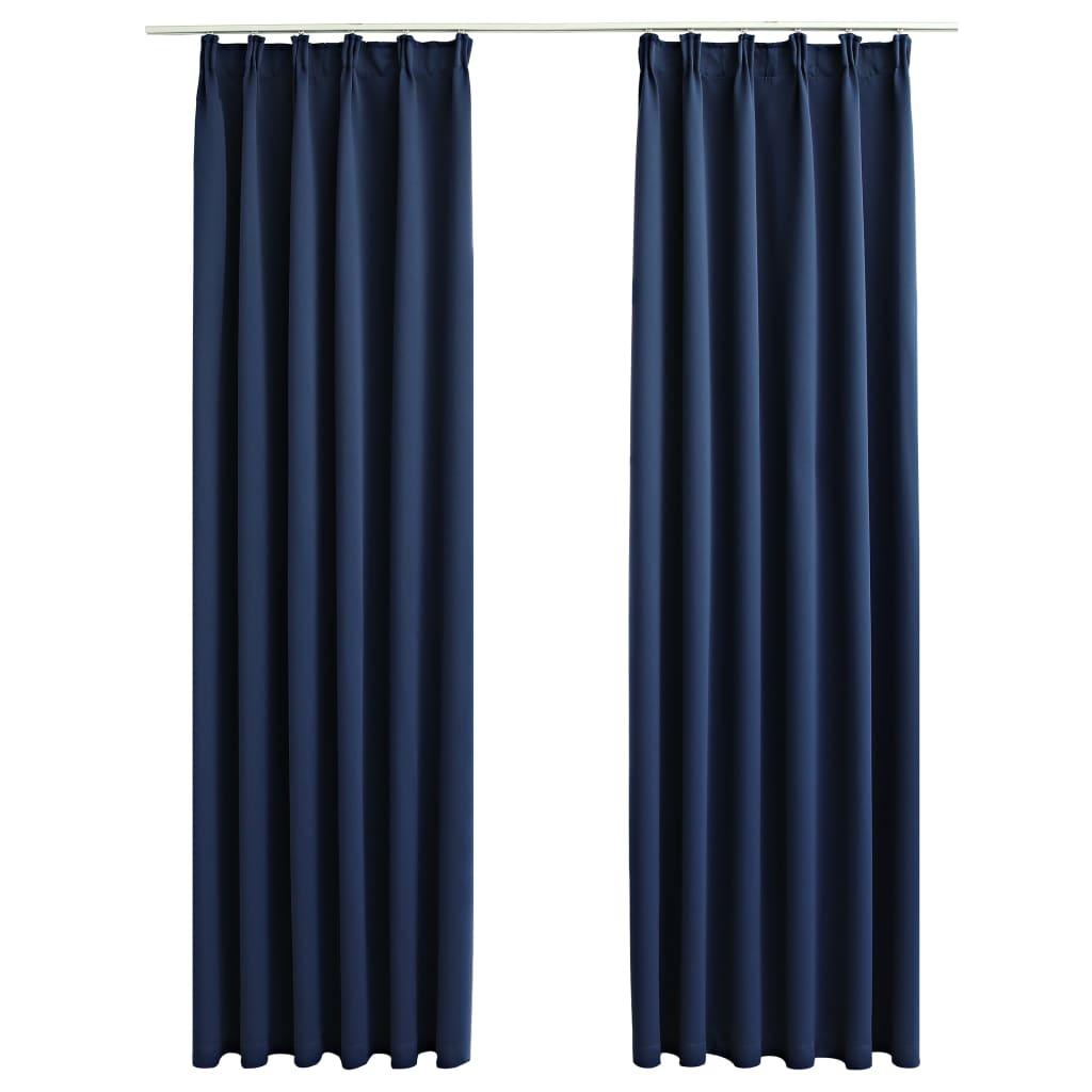 vidaXL Gordijnen verduisterend met haken 2 st 140x225 cm blauw