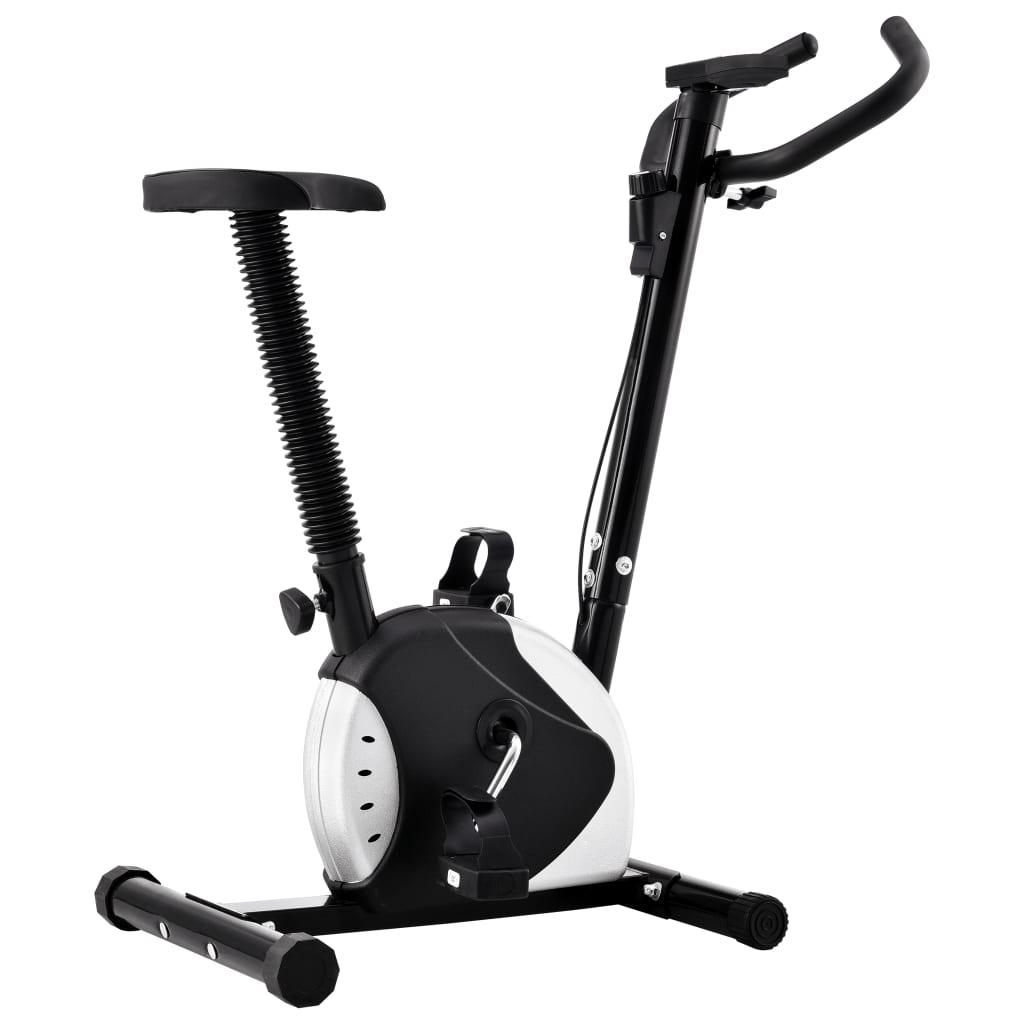 vidaXL Bicicletă de fitness cu centură de rezistență, negru vidaxl.ro