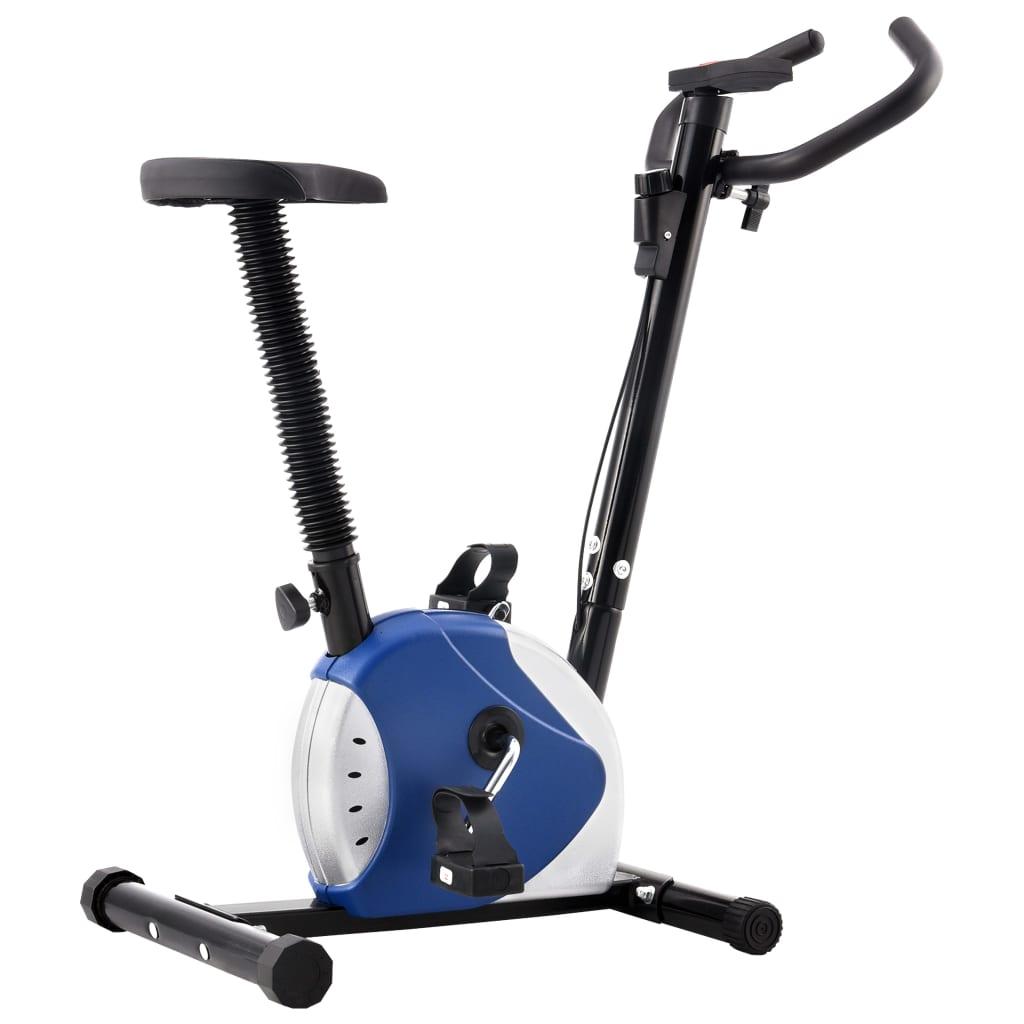 vidaXL Bicicletă de fitness cu centură de rezistență, albastru vidaxl.ro