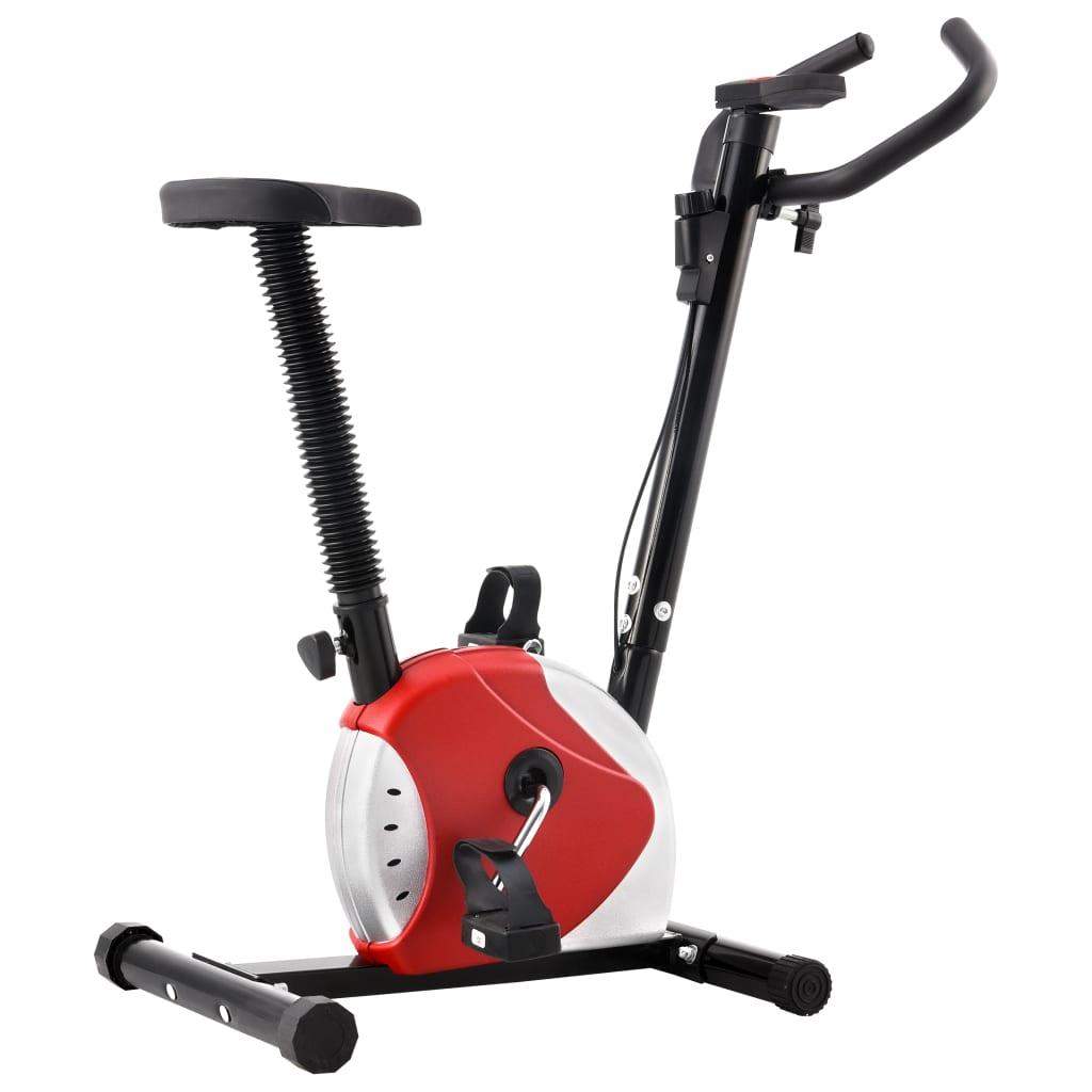 vidaXL Bicicletă de fitness cu centură de rezistență, roșu vidaxl.ro