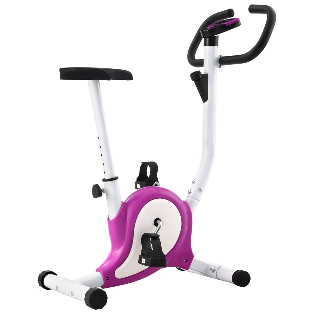 vidaXL Bicicletă fitness cu centură de rezistență, mov vidaxl.ro