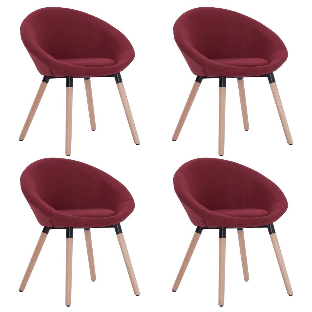 vidaXL Καρέκλες Τραπεζαρίας 4 τεμ. Μπορντό Υφασμάτινες