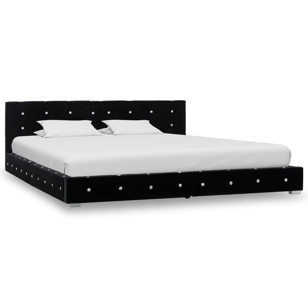 Bed met traagschuim matras fluweel zwart 160x200 cm