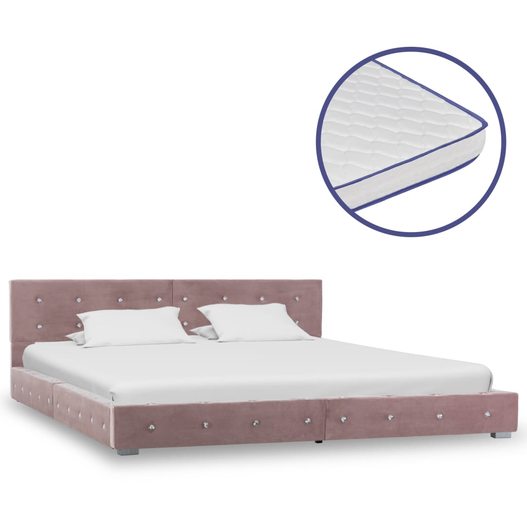 vidaXL Κρεβάτι Ροζ 160 x 200 εκ. Βελούδινο με Στρώμα Αφρού Μνήμης