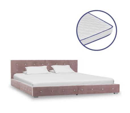 vidaXL Bed met traagschuim matras fluweel roze 180x200 cm