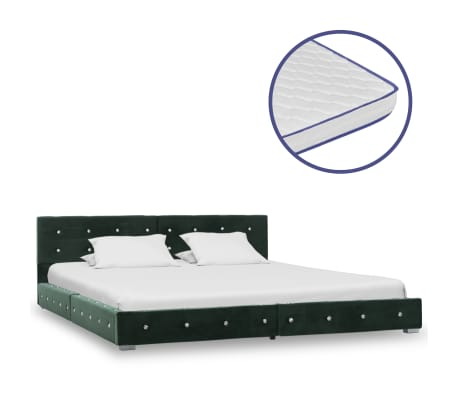 vidaXL Bed met traagschuim matras fluweel groen 180x200 cm