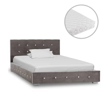 vidaXL Posteľ s matracom sivá 90x200 cm zamatová