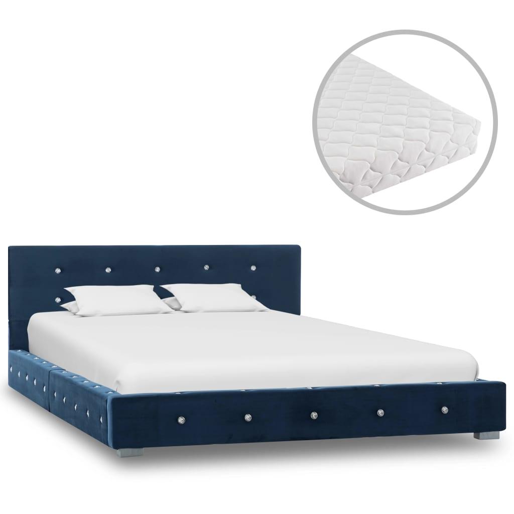 Bett mit Matratze Blau Samt 120 x 200 cm