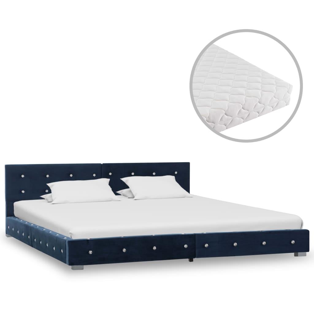 Bett mit Matratze Blau Samt 160 x 200 cm