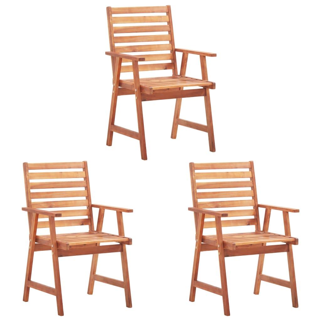 vidaXL Krzesła ogrodowe, 3 szt., lite drewno akacjowe