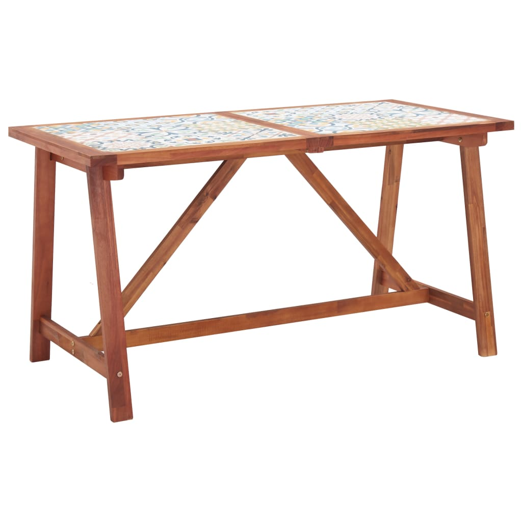 vidaXL Masă grădină, blat mozaic, 140x70x75 cm, lemn masiv de acacia poza vidaxl.ro