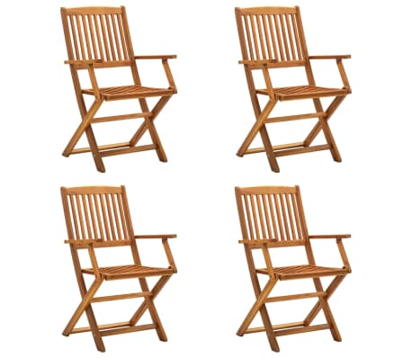 vidaXL Folding Outdoor Chairs 4 pcs Solid Acacia Wood-picture