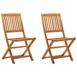 vidaXL Folding Outdoor Chairs 2 pcs Solid Acacia Wood