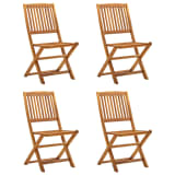 vidaXL Folding Outdoor Chairs 4 pcs Solid Acacia Wood