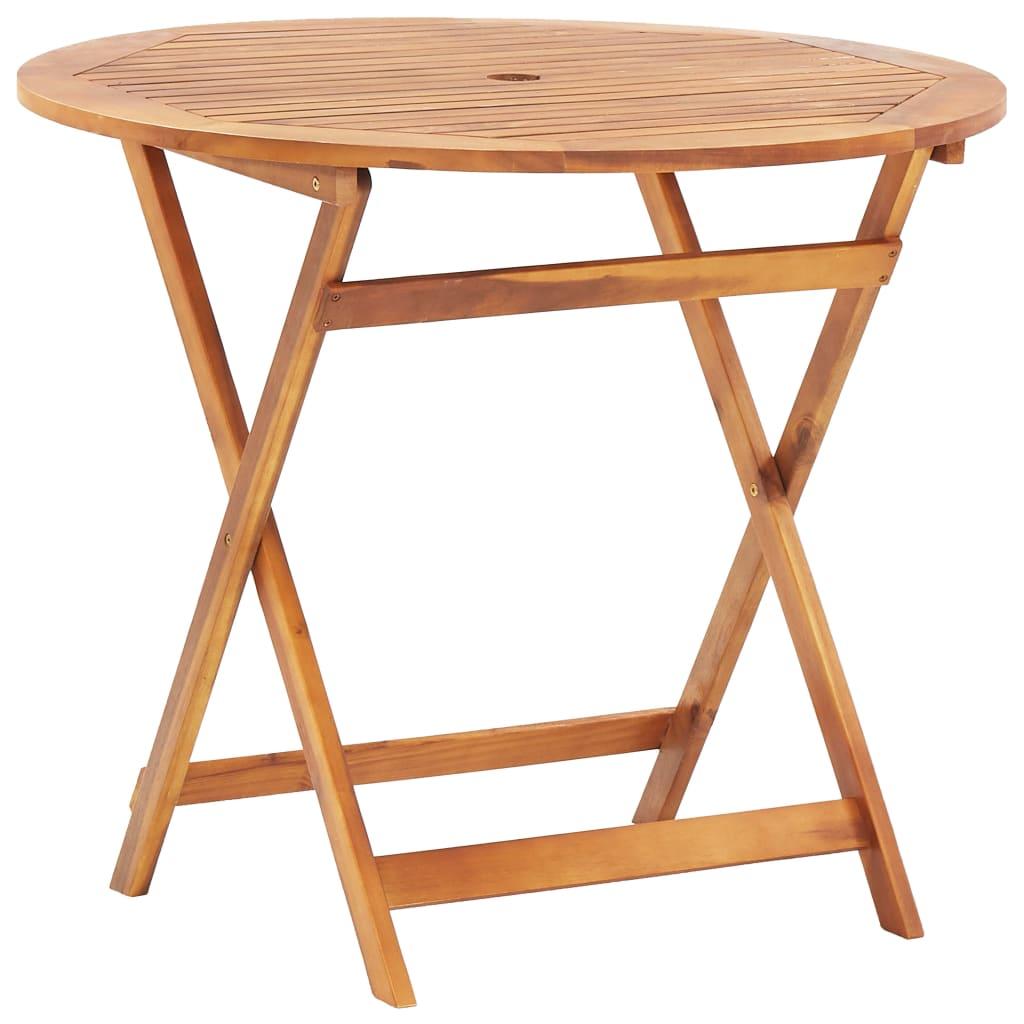 vidaXL Składany stół ogrodowy, 90 x 75 cm, lite drewno akacjowe