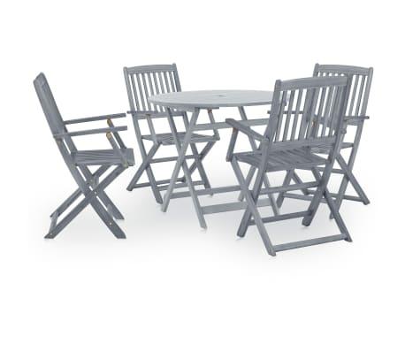 vidaXL 5 Piece Folding Outdoor Dining Set Solid Eucalyptus Wood