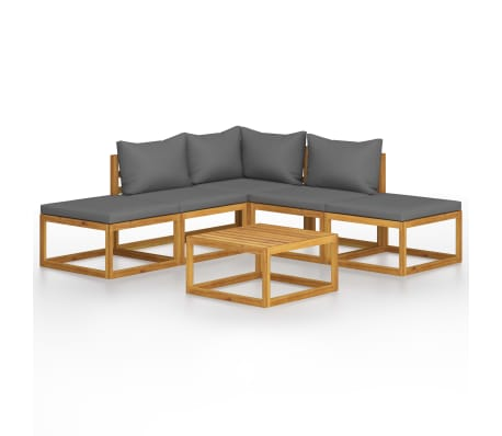 vidaXL 6 Piece Garden Lounge Set with Cushions Solid Acacia Wood