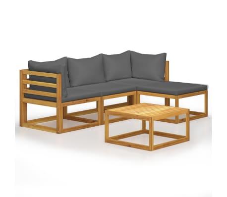 vidaXL 5 Piece Garden Lounge Set with Cushions Solid Acacia Wood