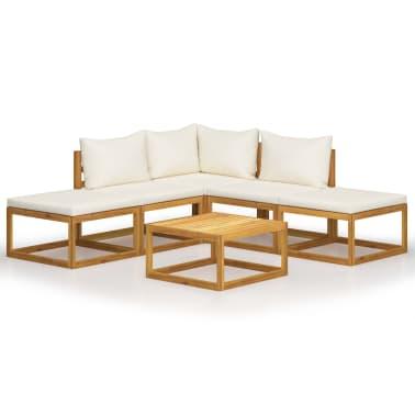 vidaXL 6 Piece Garden Lounge Set with Cushions Solid Acacia Wood[1/12]