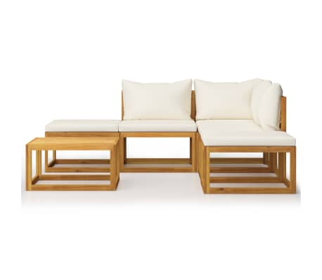 vidaXL 6 Piece Garden Lounge Set with Cushions Solid Acacia Wood[2/12]