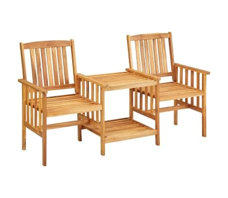 """vidaXL Garden Chairs with Tea Table 62.5""""x24""""x36.2"""" Solid Acacia Wood"""