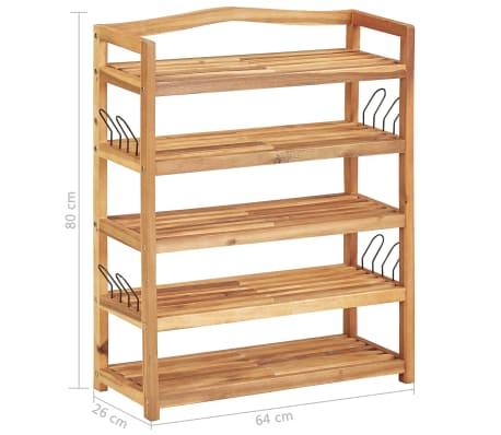 """vidaXL 5-Tier Shoe Rack 25.1""""x10.2""""x31.4"""" Solid Acacia Wood[7/7]"""