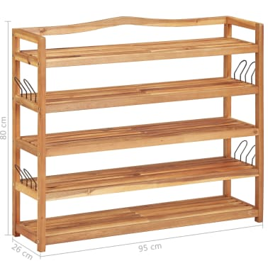 "vidaXL 5-Tier Shoe Rack 37.4""x10.2""x31.4"" Solid Acacia Wood[7/7]"