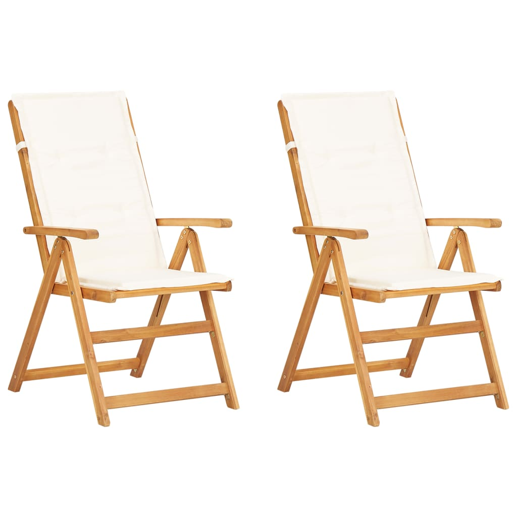 vidaXL Καρέκλες Κήπου Ανακλινόμενες 2 τεμ. Καφέ από Μασίφ Ξύλο Ακακίας