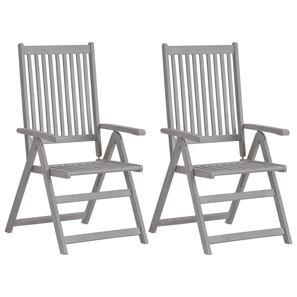 vidaXL Rozkładane krzesła ogrodowe, 2 szt, szare, lite drewno akacjowe