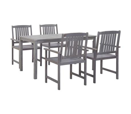 vidaXL 5 Piece Outdoor Dining Set Gray Solid Acacia Wood