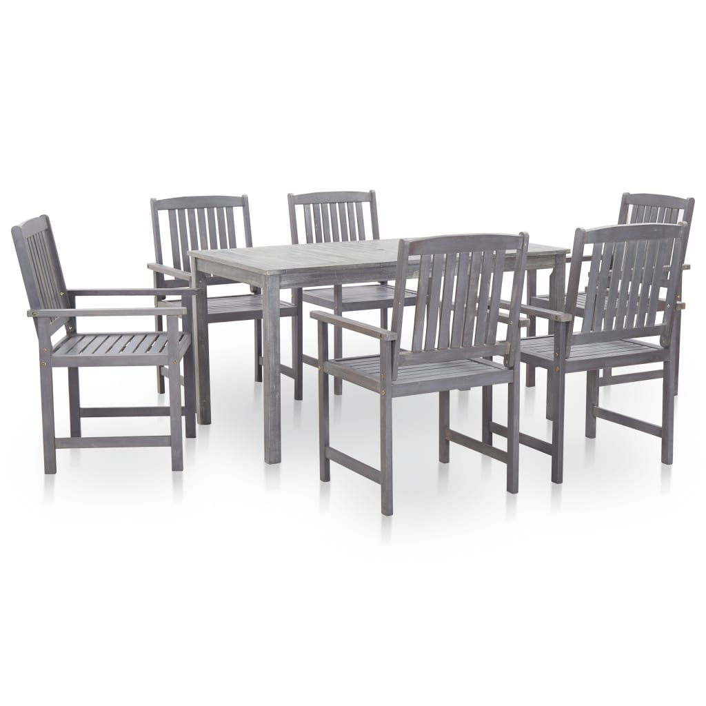 vidaXL Set mobilier de exterior 7 piese, gri prespălat, lemn de acacia vidaxl.ro