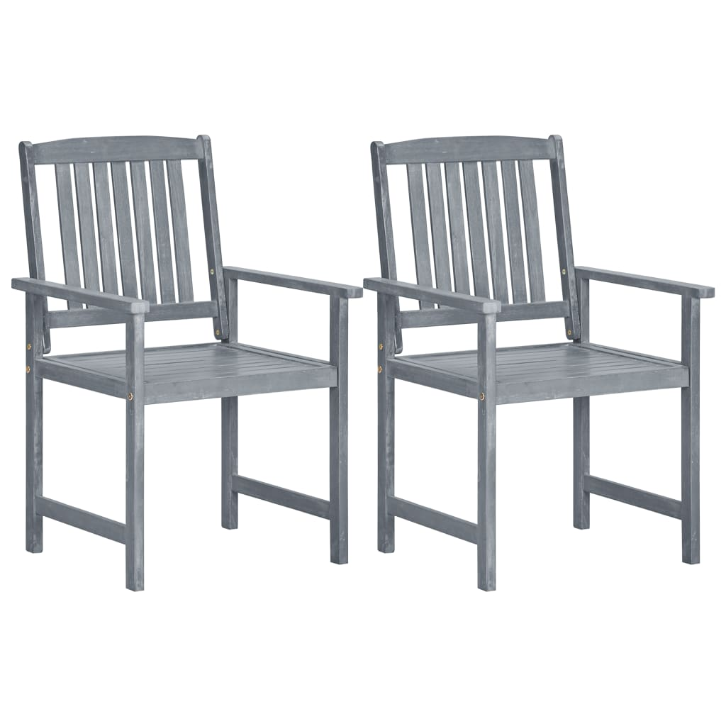 vidaXL Καρέκλες Κήπου 2 τεμ. Γκρι από Μασίφ Ξύλο Ακακίας
