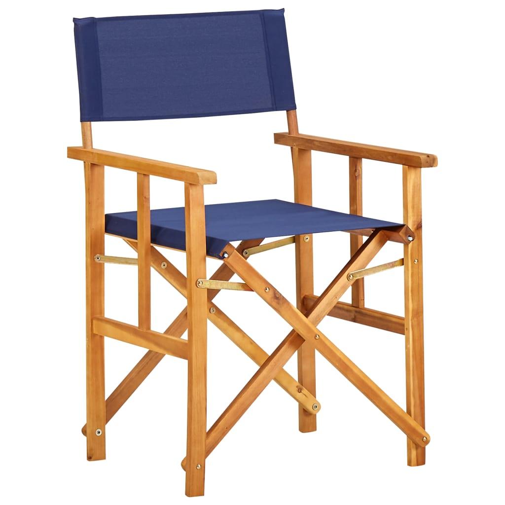 vidaXL Režisérská židle masivní akáciové dřevo modrá