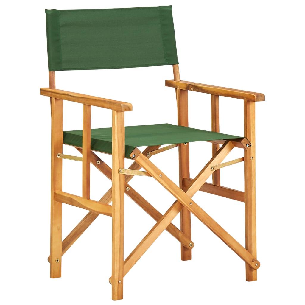 vidaXL Režisérská židle masivní akáciové dřevo zelená