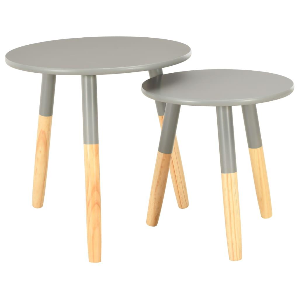 vidaXL Odkládací stolky 2 ks šedé masivní borové dřevo