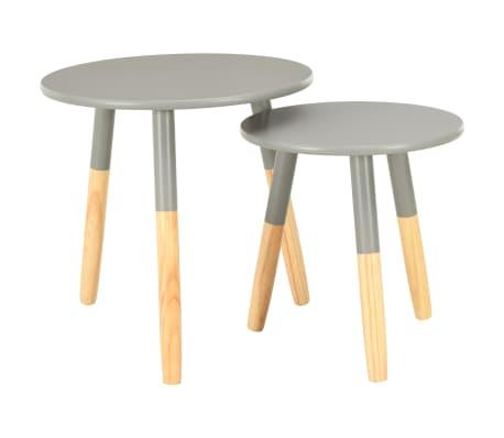 vidaXL Tables d'appoint 2 pcs Gris Pin massif