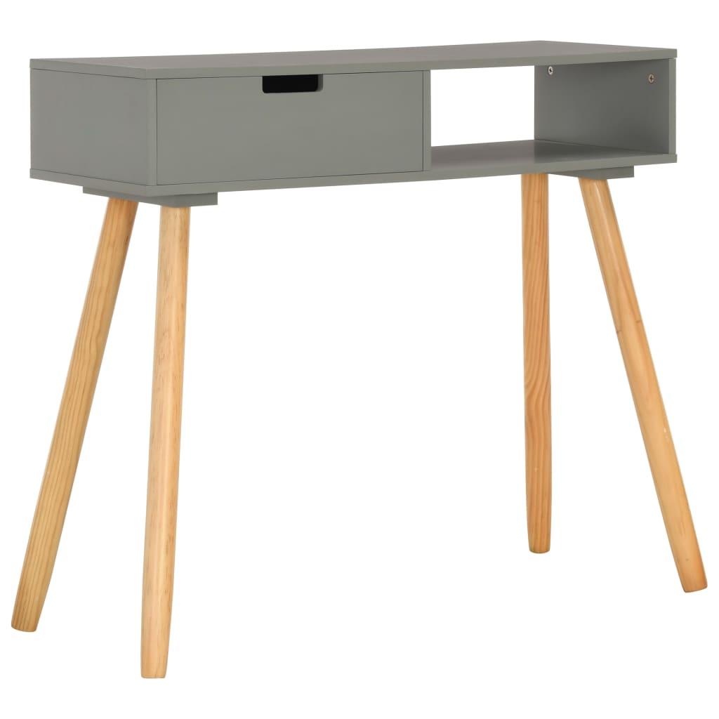 vidaXL Stolik konsola, szary, 80 x 30 x 72 cm, lite drewno sosnowe