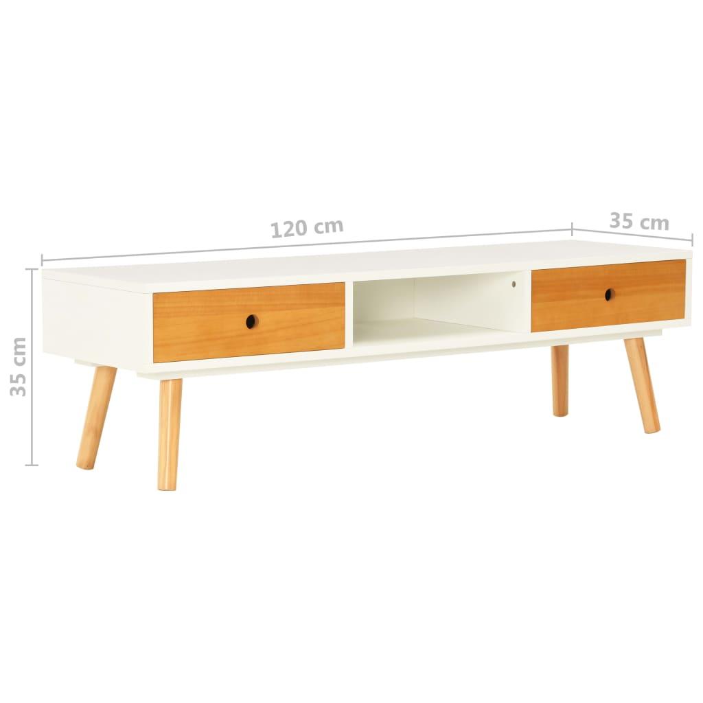vidaXL Tv-meubel 120x35x35 cm massief grenenhout wit