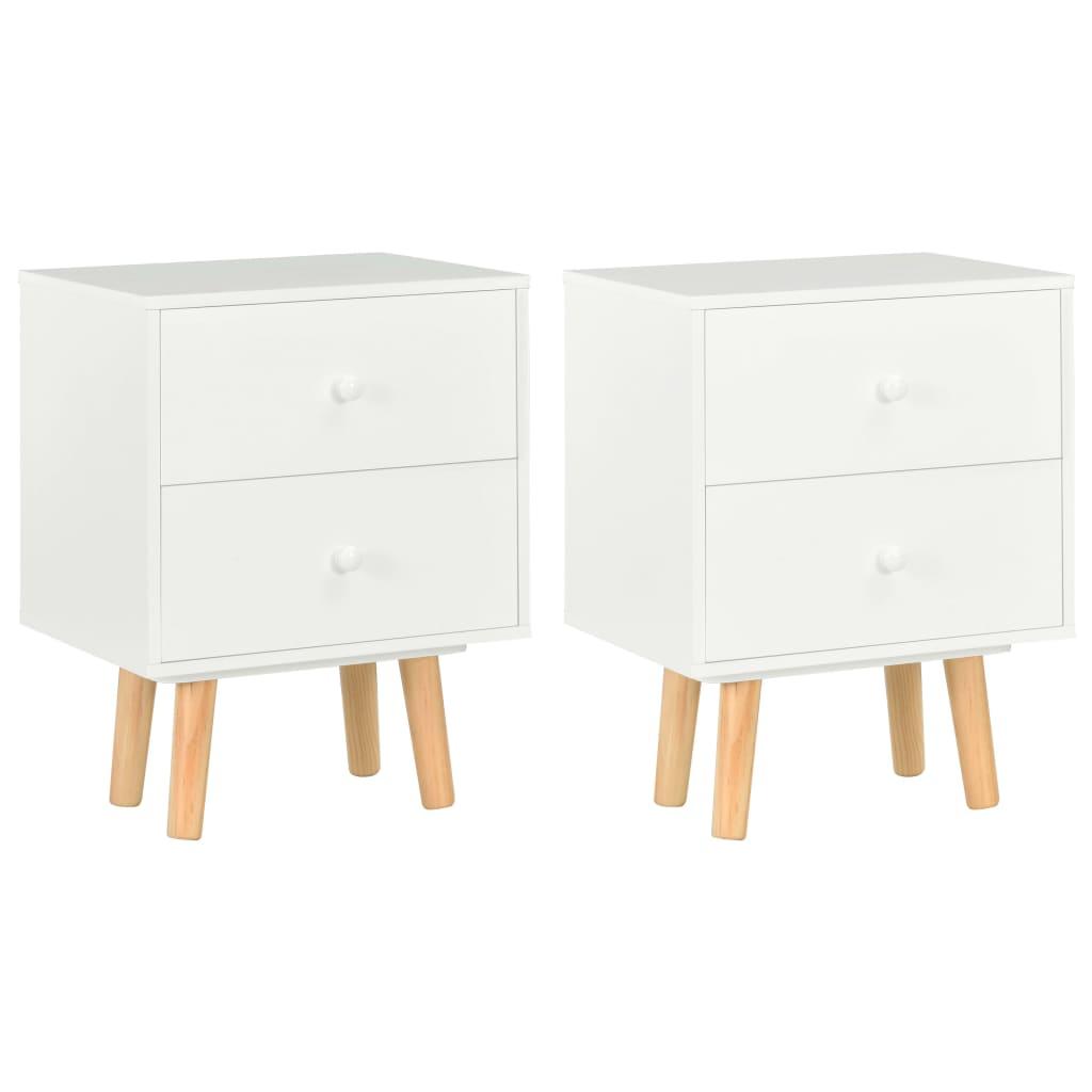 vidaXL Noptiere, 2 buc., alb, 40 x 30 x 50 cm, lemn masiv de pin poza vidaxl.ro
